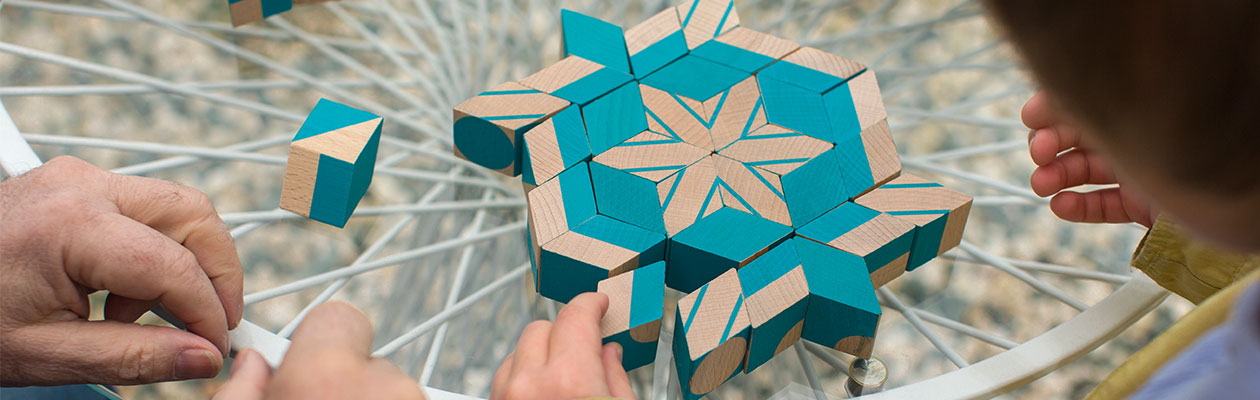 Rombi pattern made by adult and child